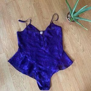 Purple floral appliqué Victoria's Secret Bodysuit